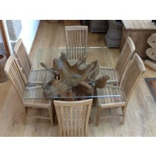 1.2m Square Reclaimed Teak Root Dining Table with 6 Santos Chairs