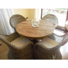 1m Reclaimed Teak Circular Pedestal Dining Table with 4 Riviera Chairs