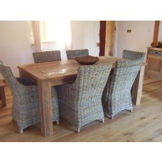 Reclaimed Teak Table Taplock with 6 Natural Wicker Armchairs
