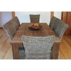 Reclaimed Teak Table Taplock and Chair set with 8 Natural Wicker Chairs