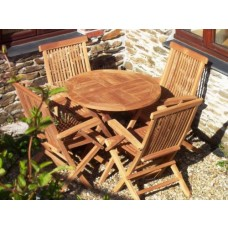Teak 4 Seater Set 80cm Round Table and 4 Folding armchairs