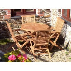 Teak 80cm Circular Table with 2 Folding Chairs and 2 Armchair Set