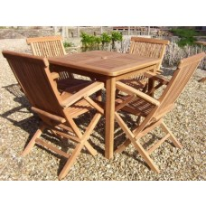 Teak 4 Seater Square fixed Table and 4 Folding armchairs