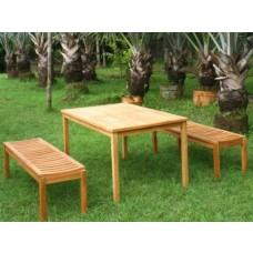 Teak 6 Seater Bench Set