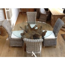 1.5m Oval or Rectangular Reclaimed Teak Root Dining Table with 4 Latifa Chairs