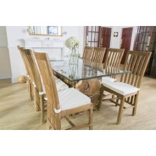 1.8m Reclaimed Teak Root Rectangular Block Dining Table with 8 Santos Chairs