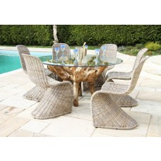 Teak Root Garden Dining Table with Kubu Zorro Dining Chairs