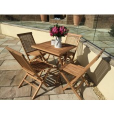 Teak Folding Table 70cm Square with four Classic Folding Chairs