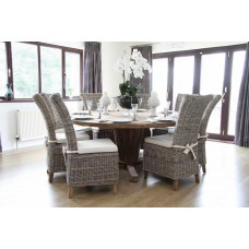 Reclaimed Teak Character Table 1.8m with Natural Kubu Wicker Latifa Dining Chairs