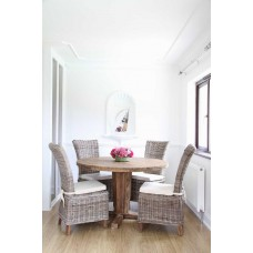 Reclaimed Teak Character Table 1.3m with Natural Kubu Wicker Latifa Dining Chairs