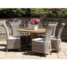 Reclaimed Teak Garden Character Table 1.3m with Natural Kubu Wicker Latifa Dining Chairs
