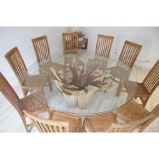 1.8m Reclaimed Teak Root Flute Circular Dining Table with 8 or 10 Santos Chairs