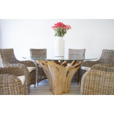 1.5m Reclaimed Teak Root Flute Circular Dining Table with 6 Donna Armchairs