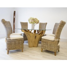 1.5m Reclaimed Teak Root Flute Circular Dining Table with 6 Latifa Chairs