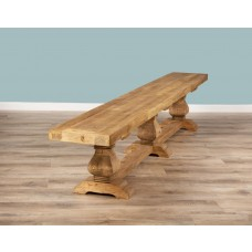 2.7m Reclaimed Elm Pedestal Dining Bench