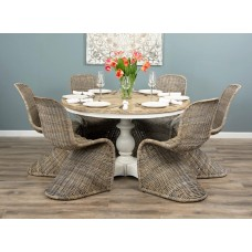 1.3m Reclaimed Pine Country Pedestal Table with Six Stackable Zorro Chairs