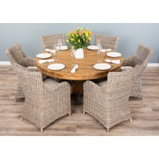 1.5m Reclaimed Teak Circular Pedestal Dining Table with 6 Donna Armchairs