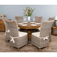 1m Reclaimed Teak Circular Pedestal Dining Table with 6 Latifa Chairs