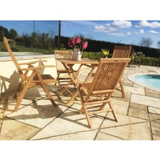 Teak Folding Table 70cm Square with Classic folding chairs and Harrogate Recliners