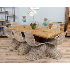 2m Reclaimed Teak Urban Fusion Pedestal Dining Table with Eight Zorro Dining Chairs