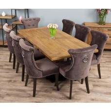 2m Reclaimed Teak Urban Fusion Pedestal Dining Table with Eight Stone Velveteen Ring Back Dining Chairs