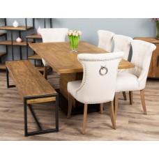 2m Reclaimed Teak Urban Fusion Pedestal Dining Table with One Backless Benches and Five Natural Windsor Ring Back Dining Chairs