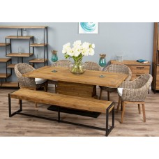 2m Reclaimed Teak Urban Fusion Pedestal Dining Table with One Backless Bench and Five Kubu Wicker Scandi Armchairs